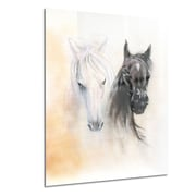 DesignArt Metal 'Black and White Horse Heads' Graphic Art; 12'' H x 28'' W
