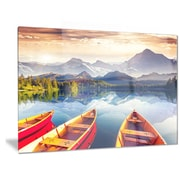 DesignArt Metal 'Boats Heading to Lake' Photographic Print; 12'' H x 28'' W