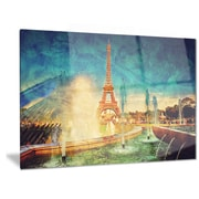 DesignArt Metal 'Eiffel Tower from Fountain' Graphic Art; 12'' H x 28'' W