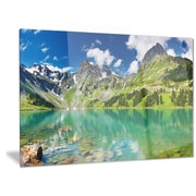 DesignArt Metal 'Bright Day Mountain Lake' Photographic Print; 12'' H x 28'' W