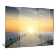 DesignArt Metal 'Ocean Sunset w/ Pier' Photographic Print; 12'' H x 28'' W