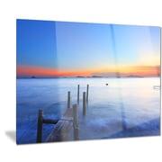 DesignArt Metal 'Summer Sea w/ Wooden Pier' Photographic Print; 28'' H x 36'' W