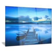 DesignArt Metal 'Cloudy Blue Sky w/ Pier' Photographic Print; 28'' H x 36'' W