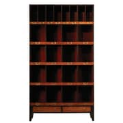 French Heritage Felix 85'' Cube Unit Bookcase; Black / Red / Light Cherry