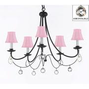 Harrison Lane Versailles 5-Light Shaded Chandelier; Pink