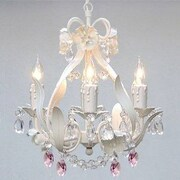 Harrison Lane Empress 4 Light Candle-Style Chandelier; Pink