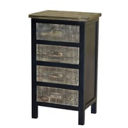 Gallerie Decor Wovenwood 4 Drawer Cabinet; Black / Gray