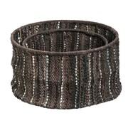 Evergreen Enterprises, Inc 2 Piece Leather Storage Basket Set; Brown