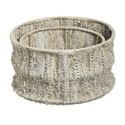 Evergreen Enterprises, Inc 2 Piece Leather Storage Basket Set; Beige