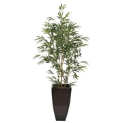 House of Silk Flowers Artificial Yellow Bamboo Tree in Planter; Dark Copper 486 Planter