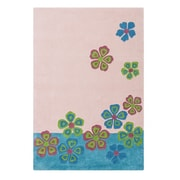 Cilek Pretty in Pink Hand-Tufted Flowers Blue and Light Pink Area Rug