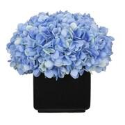 House of Silk Flowers Hydrangea Arrangement in Large Black Cube Ceramic; Blue