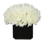 House of Silk Flowers Hydrangea Arrangement in Large Black Cube Ceramic; White