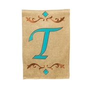 Evergreen Enterprises, Inc Monogram Burlap Teal Vertical Flag; T