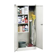 Janitorial Supply Cabinet 36Wx24Dx72H Three storage shelf spaces 20Wx23Dx17H White