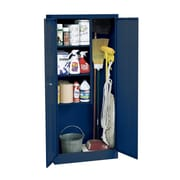Janitorial Supply Cabinet 36Wx24Dx72H Three storage shelf spaces 20Wx23Dx17H Blue