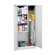 Janitorial Supply Cabinet 36Wx24Dx72H Three storage shelf spaces 20Wx23Dx17H Dove Gray