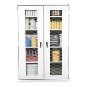 Expanded Metal Front Stationary Cabinet 36Wx18Dx72H White