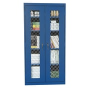 Expanded Metal Front Stationary Cabinet 36Wx18Dx72H Blue