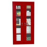 Expanded Metal Front Stationary Cabinet 36Wx18Dx72H Red