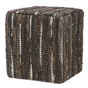 Evergreen Enterprises, Inc Leather Pouf Ottoman; Brown