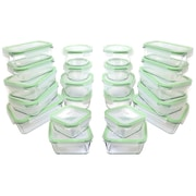 Kinetic GoGreen Glassworks 44 Piece Oven Safe Glass Food Storage Container Set