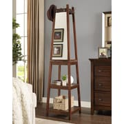 Roundhill Furniture Vassen Swivel Coat Rack with 3-Tier Storage and Mirror Shelf