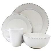 Design Guild Bianca Bead Round 16 Piece Dinnerware Set; White