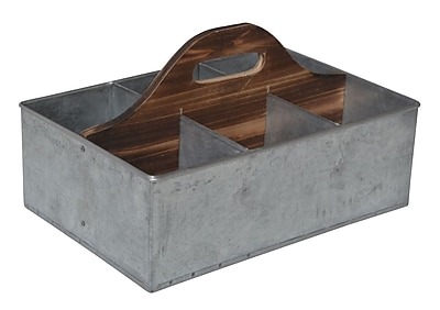 Cheungs Galvanized Storage Caddy w/ Wood Center
