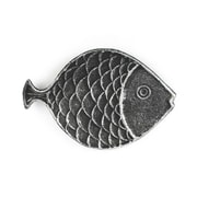 Handcrafted Nautical Decor Fish Decorative Plate; Antique Silver