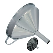 Update International Stainless Steel Funnel w/ Strainer; 5.63'' H x 5.75'' W x 5.75'' D