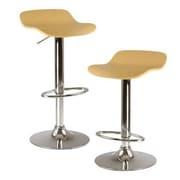 Luxury Home Kallie Adjustable Height Swivel Bar Stool (Set of 2); Natural Wood