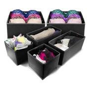 GGI International Sorbus  6 Piece Storage Box Set; Black