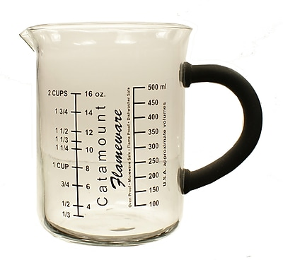 Catamount Glass 2 Cup Glass Measuring Cup w/ Handle; Black WYF078278938480