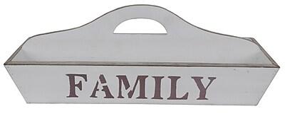 Cheungs Rectangular White Wooden ''Family'' Storage Caddy