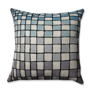 Pillow Perfect Checker Board Wool Throw Pillow; Gray/Blue/Cream