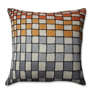 Pillow Perfect Checker Board Wool Throw Pillow; Gray/Orange/Cream