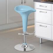 AdecoTrading Adjustable Height Swivel Bar Stool; Light Blue