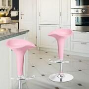AdecoTrading Adjustable Height Swivel Bar Stool; Light Pink