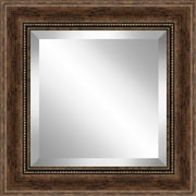 Ashton Wall D cor LLC Rustic Walnut Wood Effect Framed Beveled Plate Glass Mirror