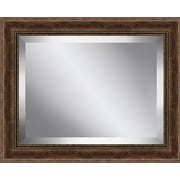 Ashton Wall D cor LLC Rustic Walnut Wood Effect Framed Beveled Plate Glass Mirror; 32'' H x 44'' W