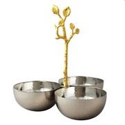 Elegance – Triples bols martelés avec vigne dorée