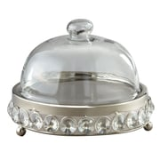 Elegance – Plateau à fromage plaqué en nickel avec perles de verre