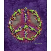 Ben and Jonah Royal Plush Extra Heavy Queen Size Froggy Peace Symbol Blanket