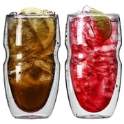 Ozeri Serafino Double Wall 16 oz Insulated Iced Tea and Coffee Glasses (Set of 2)