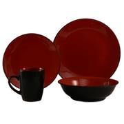 ColorUs China Cleon 16 Piece Dinnerware Set; Red / Black