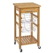 CORNER HOUSEWARES Bamboo Kitchen Cart w/ Storage