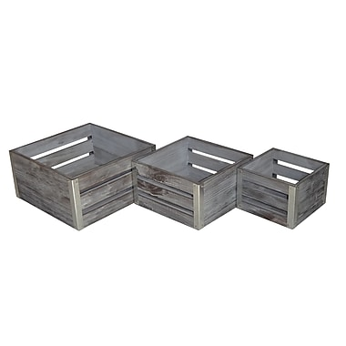 Cheungs 3 piece wooden square storage crate set gray staples - Storage staples corner ...