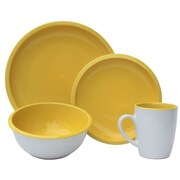 Melange 16 Piece Contempo Cantina 2-Tone Stoneware Dinnerware Set; Sunflower