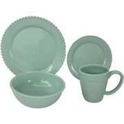 Design Guild Bianca Bead Round 16 Piece Dinnerware Set; Teal